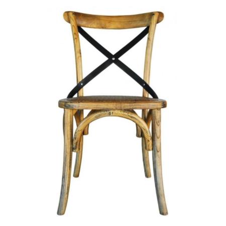Oak Metal Cross Back Dining Chairs